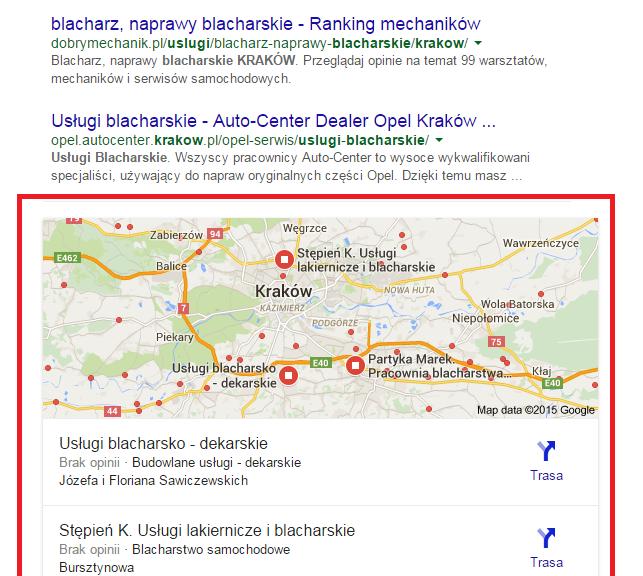 Nowe SERPY Google - mapki - 3 wyniki