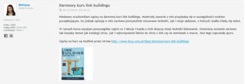 Darmowy kurs link buildingu Marty Gryszko Lexy