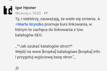 Marta Gryszko a katalogi SEO