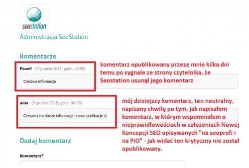 Seostation nie publikuje niewygodnych dla siebie komentarzy