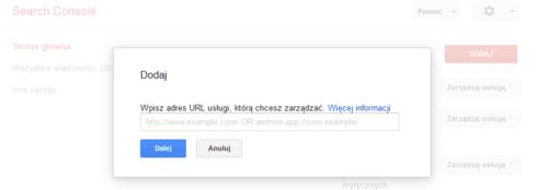 Dodaj nazwę usługi - Search Console