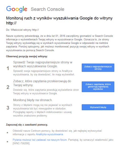 Monitoruj ruch z wyników wyszukiwania Google do witryny
