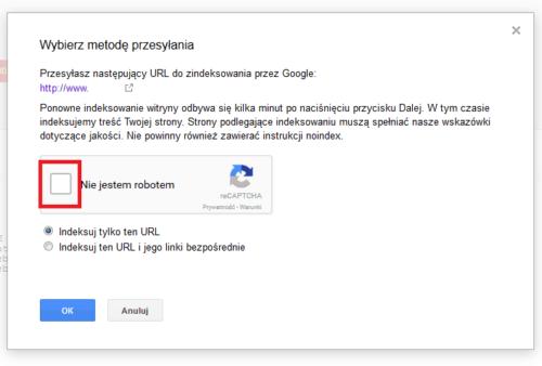 Search Console - pobierz jako Google - Captcha