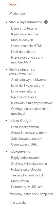 menu w search console