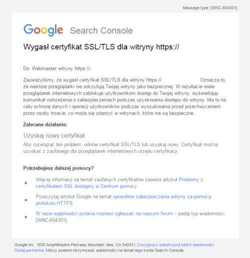 Wygasł certyfikat SSL/TLS dla witryny