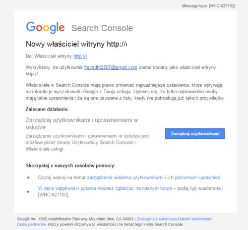 Włąmanie na stronę - dodano nowego właściciela w Search Console