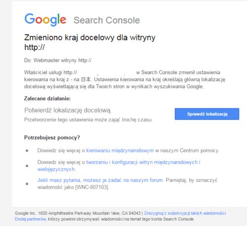 Włąmanie na stronę - zmieniono kraj docelowy w Search Console