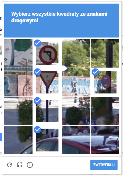 Search COnssole - wybierz wszystkie kwadraty ze znakami drogowymi zaznaczone